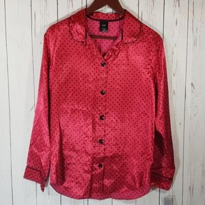 Apt. 9 Red Black Polka Dot silky pajama top Small